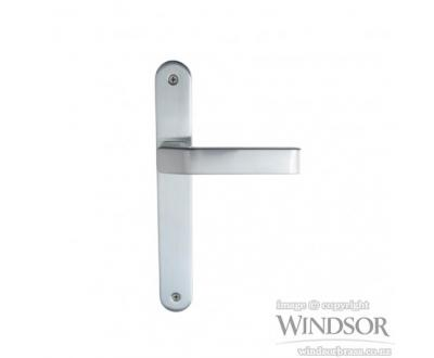 Qube door handle from Windsor. Available in brushed nickel, satin chrome, powder coat and other finishes upon request.