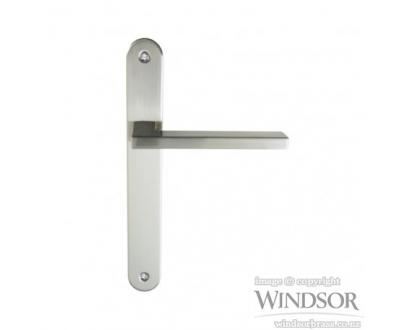 Vector door handle from Windsor. Available in brushed nickel, satin chrome, powder coat and other finishes upon request.